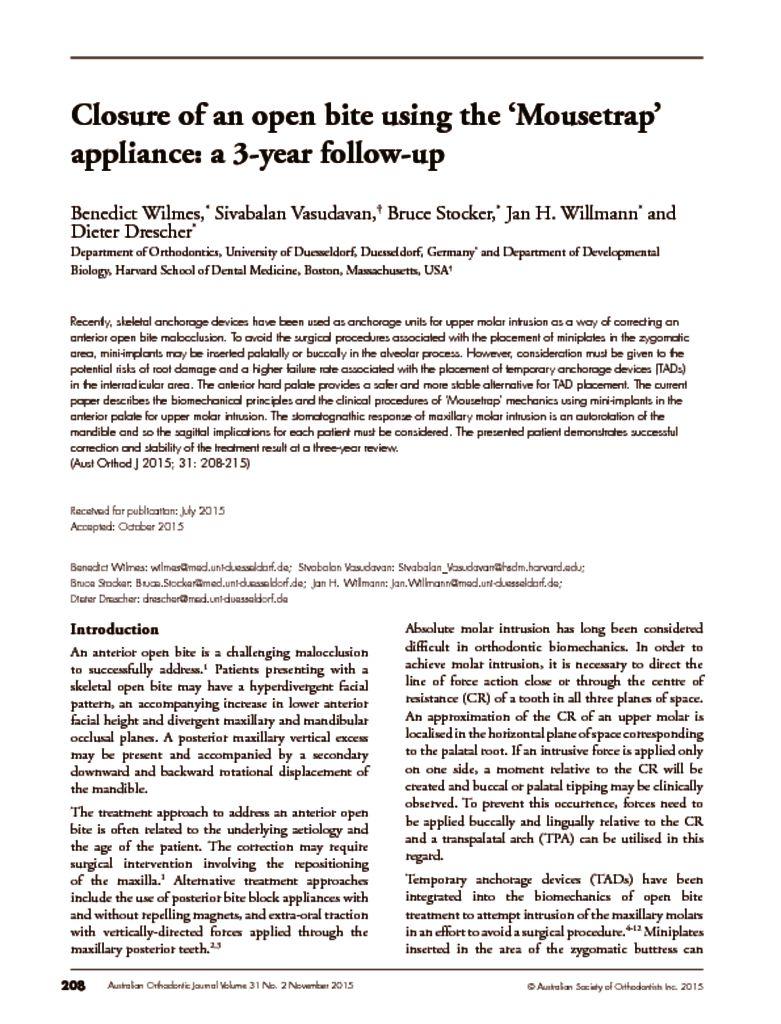 thumbnail of Closure of Open Bite using Mousetrap Appliance – AOJ November 2015