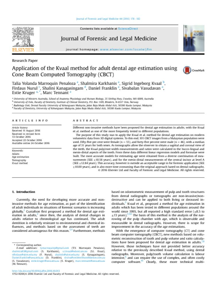 thumbnail of Application of the Kval Method for Adult Dental Age Estimation using CBCT