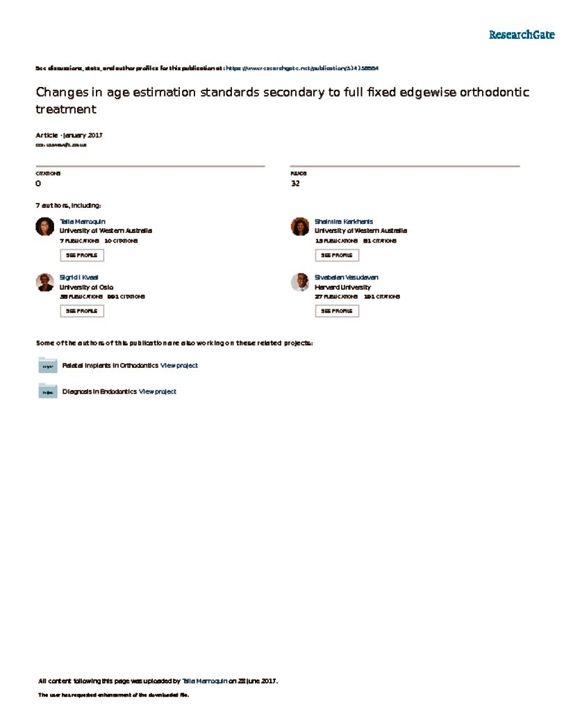 thumbnail of Changes in age estimation standards secondary to full fixed edgewise orthodontic treatment