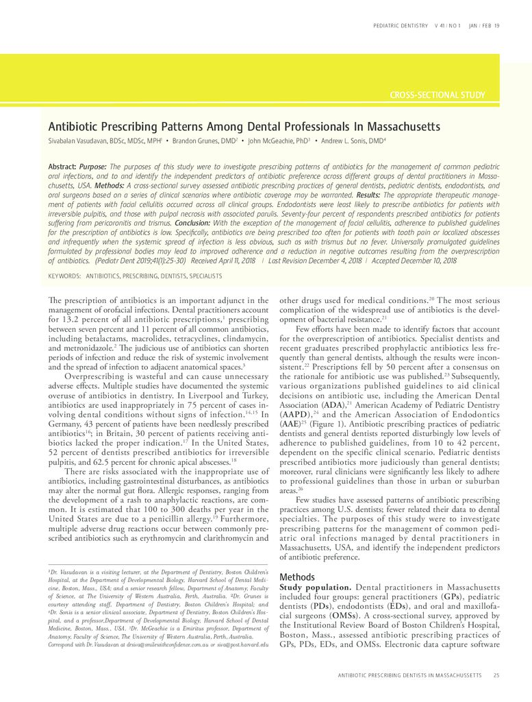 thumbnail of Antibiotic prescribing patterns amongst dental practitioners in Massachusetts